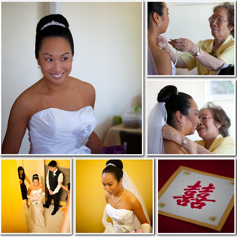 bride gets ready with mom