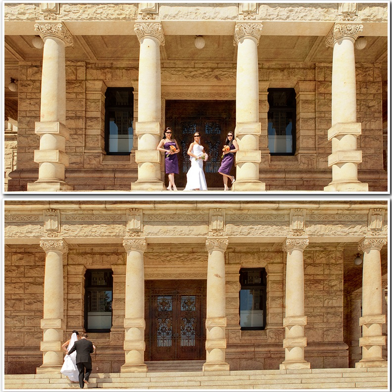 bride bridesmaids portrait parliament building